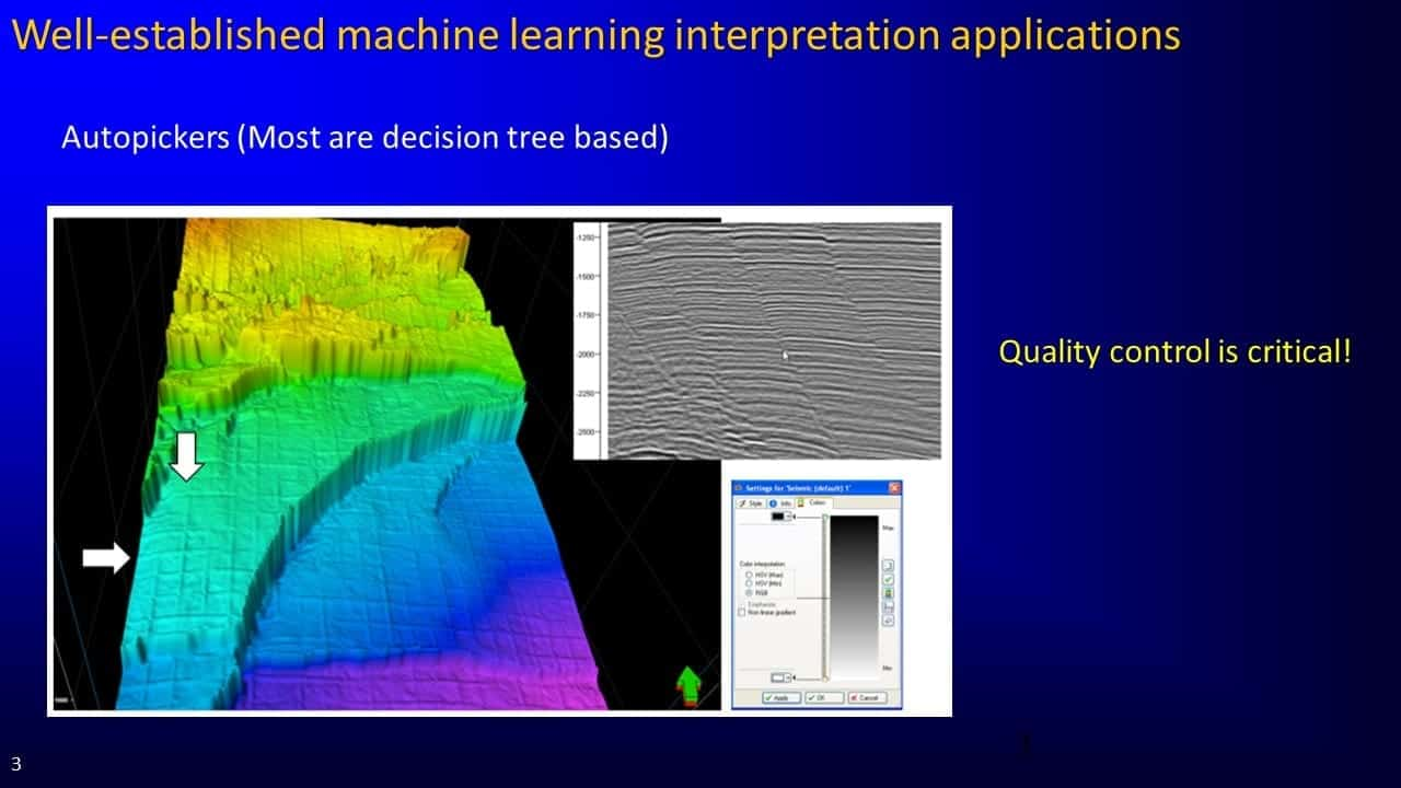 Slide screenshot of machine learning interpretation applications