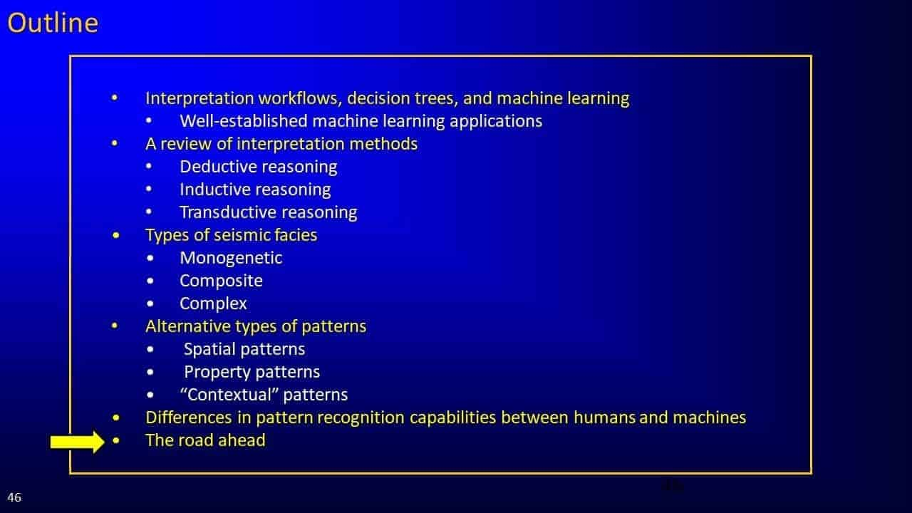 Slide screenshot of Kurt Marfurt's presentation outline