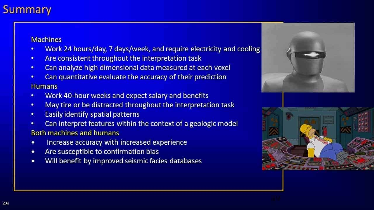 Slide screenshot of summary of machines and humans presentation