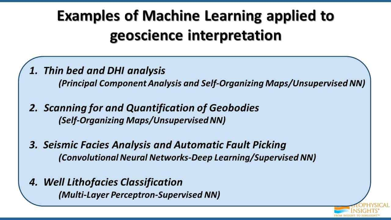 Examples of Machine Learning applied to geoscience interpretation