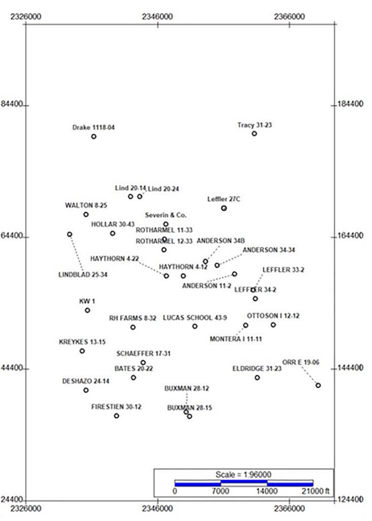 Index map of vertical wells