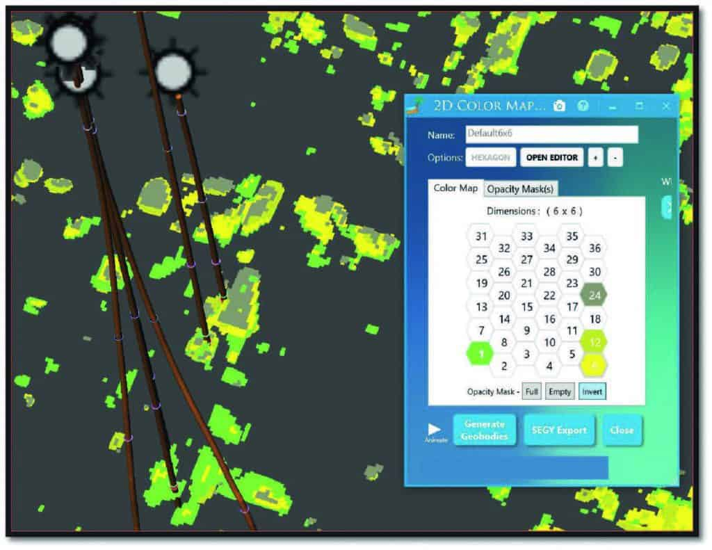 Isolating various neuron clusters in Paradise 3D viewer, the seismic interpretation software